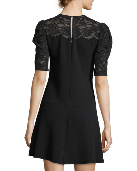 Short-Sleeve Crepe Short Dress with Lace