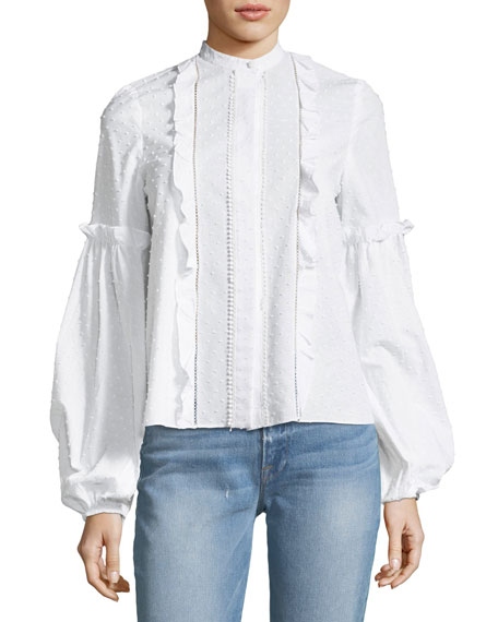 Lyric Button-Front Long-Sleeve Cotton Dobby Blouse