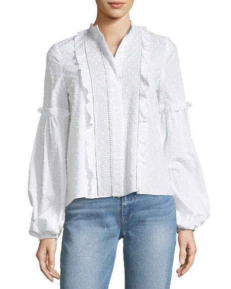 Alexis Lyric Button-Front Long-Sleeve Cotton Dobby Blouse