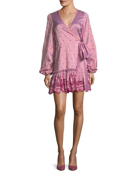 Alexis Alzena Gingham-Print Cotton Dobby Wrap Dress