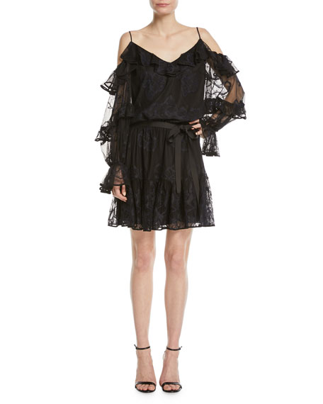 Alexis Magna Tiered-Sleeve Cold-Shoulder Floral Lace Dress