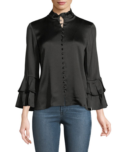 Gai Button-Front Sateen Top