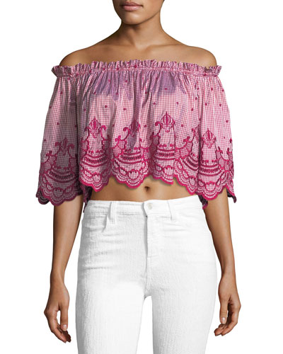 Ellis Off-the-Shoulder Gingham-Print Crop Top with Embroidery