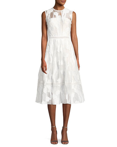 Taylina Sleeveless Fit-and-Flare Lace Midi Dress