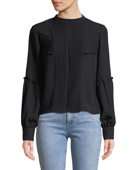 Alexis Barret Pleated-Front Long-Sleeve Button-Back Top