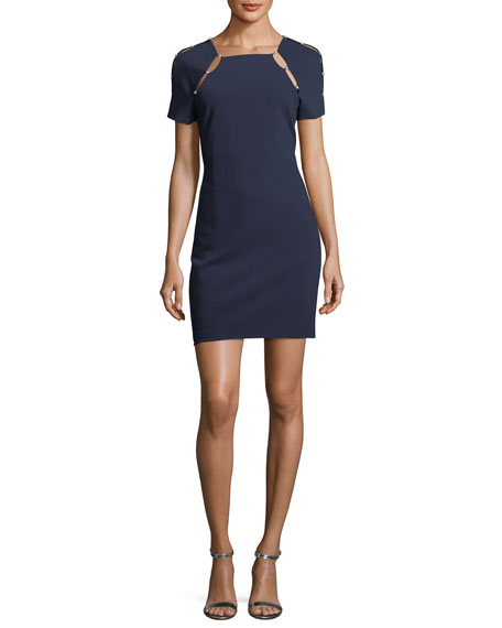 Kristiana Short-Sleeve Fitted Dress with Cutout Details