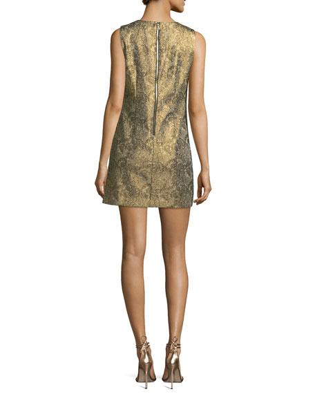 Clyde Sleeveless A-Line Metallic Jacquard Dress