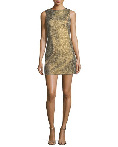 Clyde Sleeveless A-Line Metallic Jacquard Dress