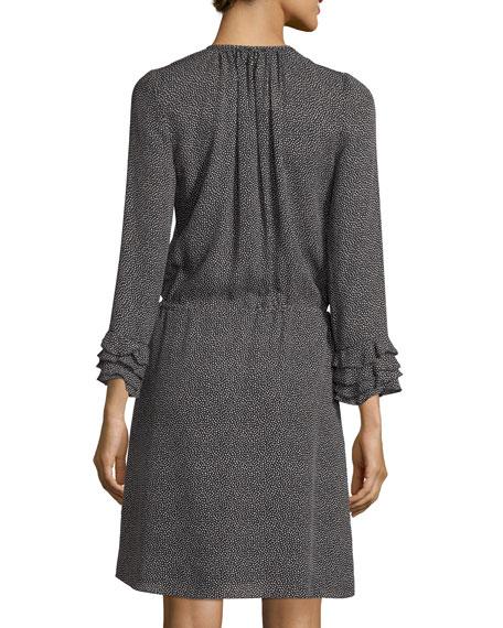 Long-Sleeve Pebbled Silk Short Dress