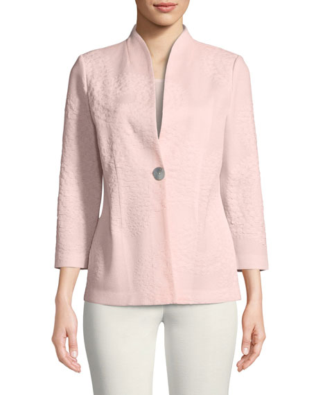 Textured One-Button Jacket, Plus Size