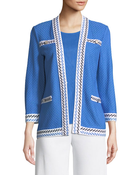 Misook Contrast-Trim Textured Jacket, Plus Size