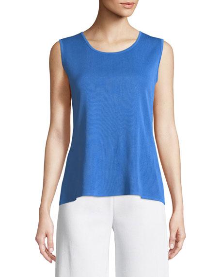 Misook Classic Solid Knit Tank, Cerulean Blue, Petite