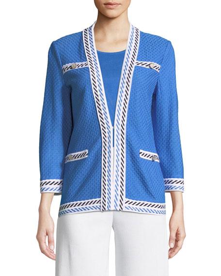 Contrast-Trim Textured Jacket, Petite
