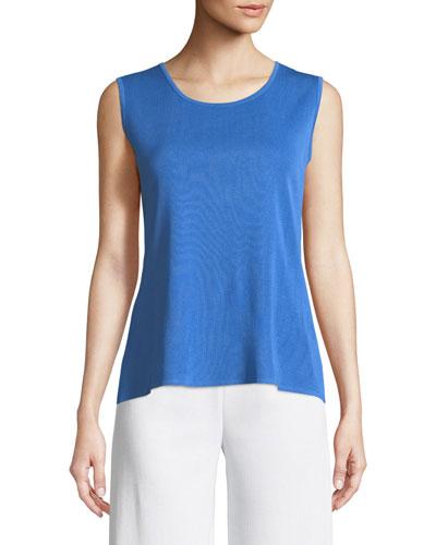 Classic Solid Knit Tank, Cerulean Blue
