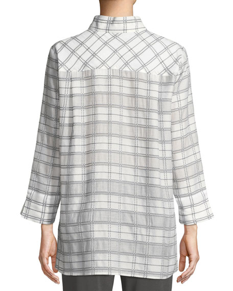 3/4-Sleeve Soft Plaid Shirt Jacket, Petite