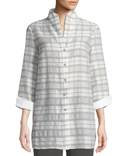 3/4-Sleeve Soft Plaid Shirt Jacket
