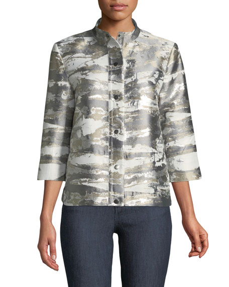 Graphic Metallic Short Jacket, Plus Size