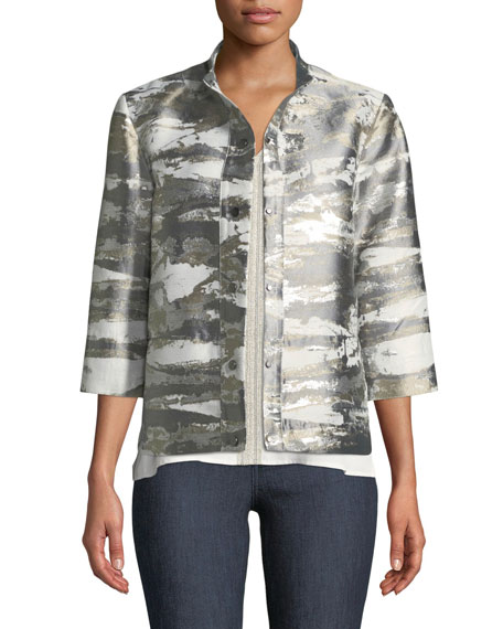 Misook Collection Graphic Metallic Short Jacket, Petite