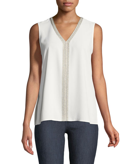Metallic-Trim V-Neck Tank