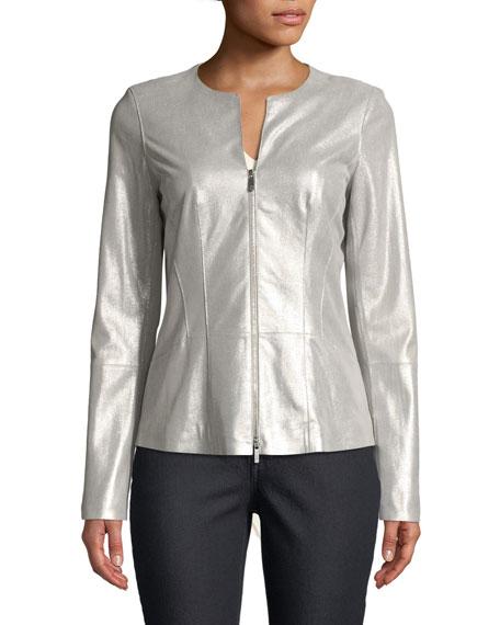 Maris Metallic-Weave Leather Jacket