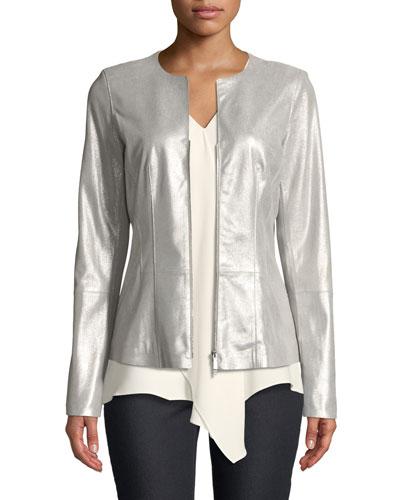 Maris Metallic-Weave Suede Jacket