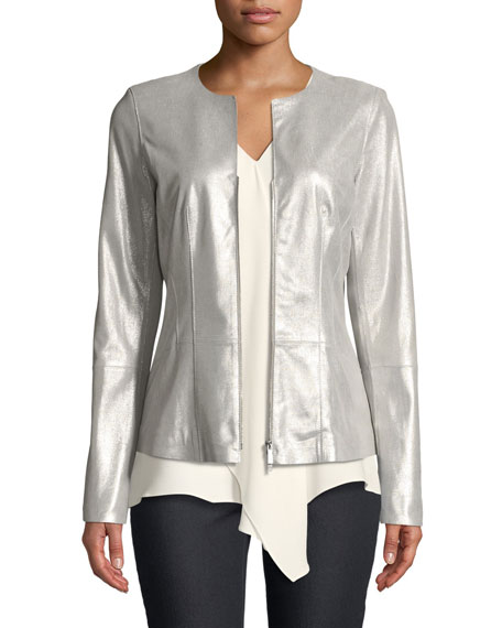 Lafayette 148 New York Maris Metallic-Weave Suede Jacket