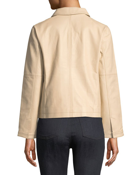 Lightweight Drapey Leather Moto Jacket