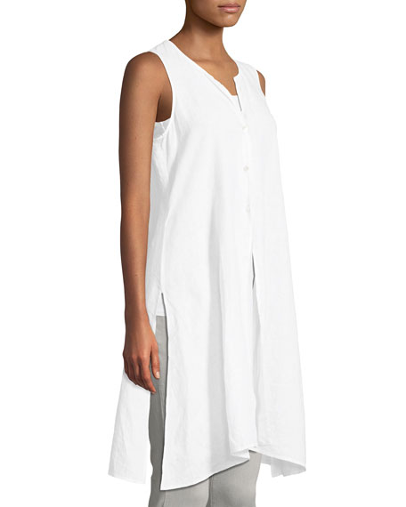 Sleeveless Organic Handkerchief Linen Tunic