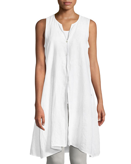 Eileen Fisher Sleeveless Organic Handkerchief Linen Tunic