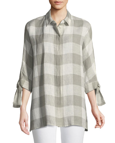 Saige Napa Valley Self-Tie Check Blouse