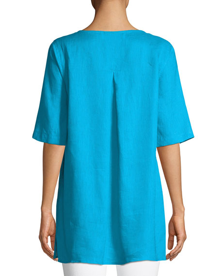 Tissue Linen Front-Pocket Tunic , Petite