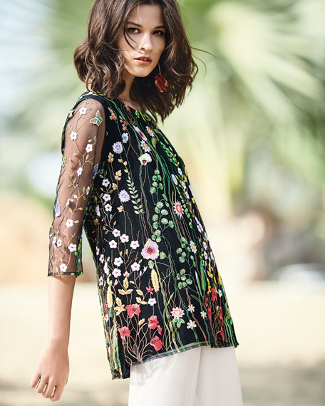 Petite Garden Walk Embroidered Layered Tunic