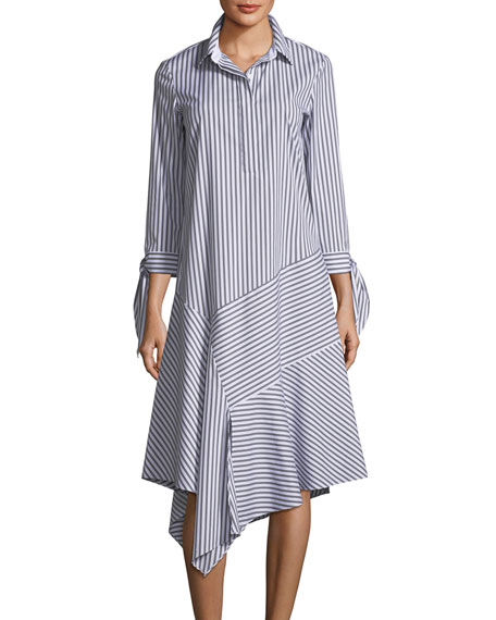 Lafayette 148 New York Leighton Striped Asymmetric-Hem Dress