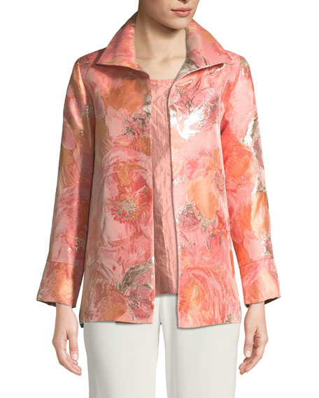 Caroline Rose Sitting Pretty Floral Jacquard Jacket, Plus