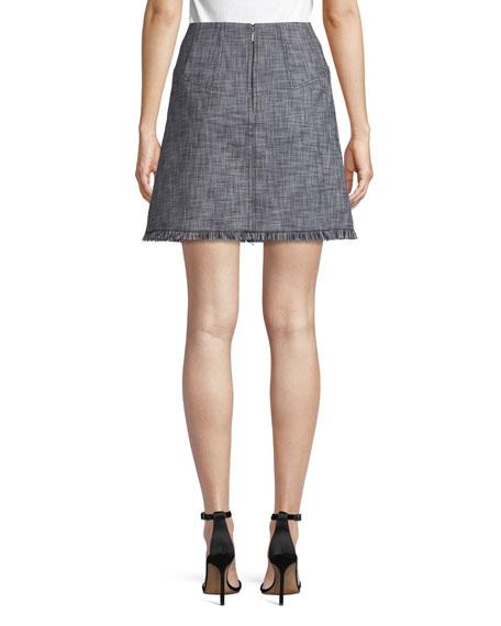 Slub Suiting A-Line Skirt with Fringe Hem