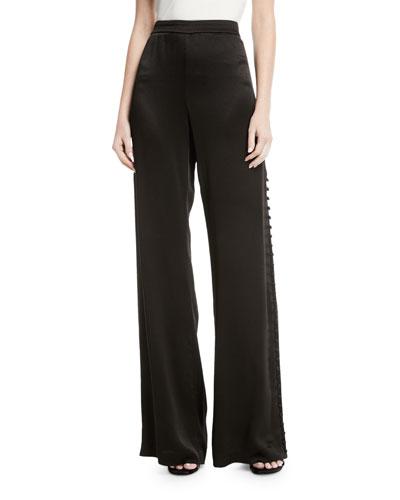 Belda Wide-Leg Side-Button Pants