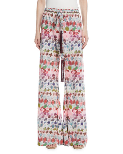Zarafin Abstract-Print Wide-Leg Pull-On Silk Pants