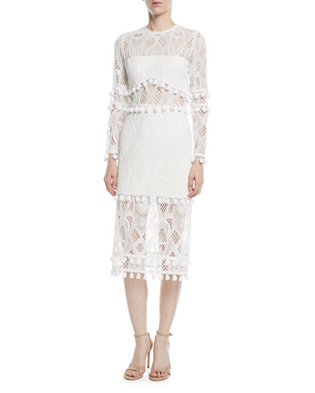 Alexis Callie Long-Sleeve Crochet-Lace Sheath Dress w/ Pompom