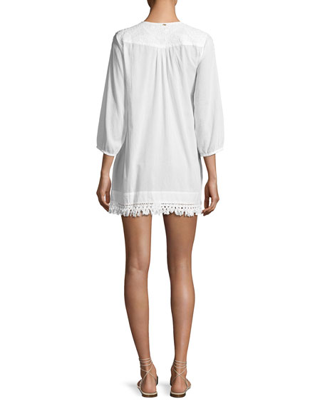 Elena Cotton Coverup Tunic with Embroidery