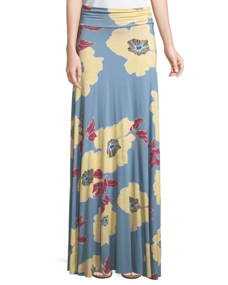 Floral Print Jersey Maxi Skirt by Rachel Pally