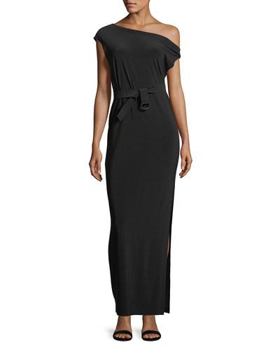 Drop-Shoulder Belted Long Dress