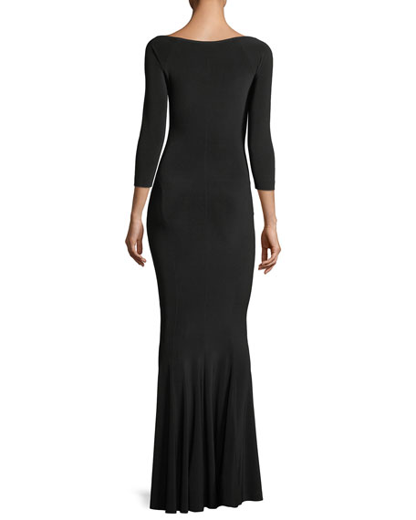 Reversible Fishtail Scoop-Neck Gown