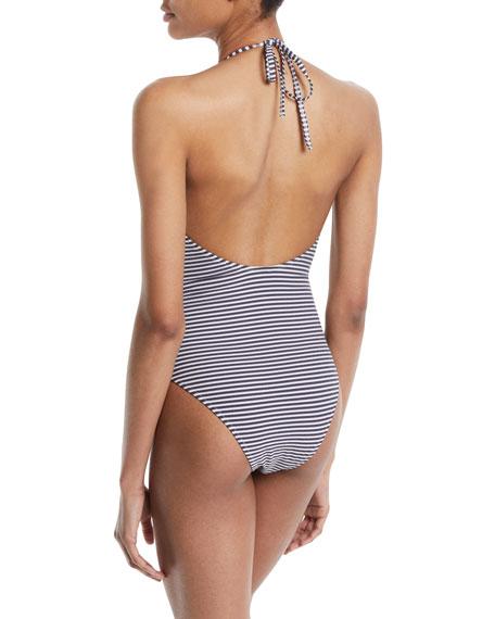 The Nadine Seersucker Halter One-Piece Swimsuit