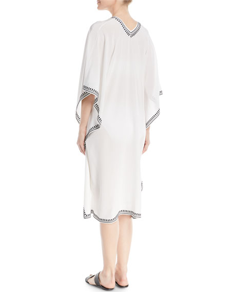 Boubou Spade-Embroidered V-Neck Silk Coverup Dress, One Size