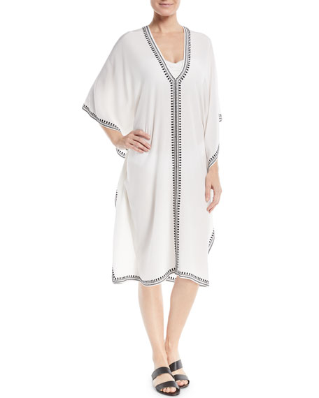 Boubou Spade-Embroidered V-Neck Silk Coverup Dress, One Size, White