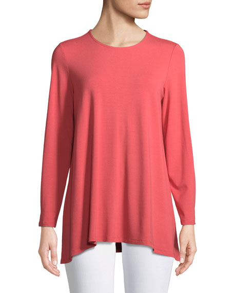 Long-Sleeve Jersey Round-Neck Top, Petite