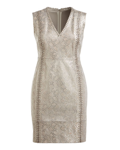 Emily Metallic Lace-Up Dress