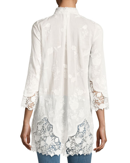 Clark Floral Lace Long Blouse