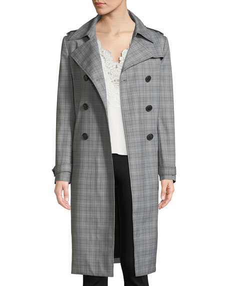 Elie Tahari Watson Plaid Trench Coat