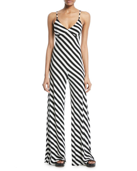 Norma Kamali Striped Sleeveless Slip Jumpsuit